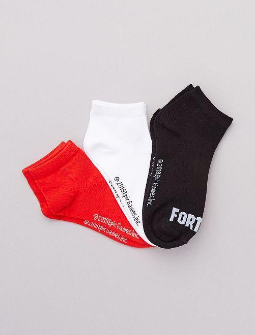 Lot 3 paires de soquettes 'Fortnite'                             noir/blanc/rouge