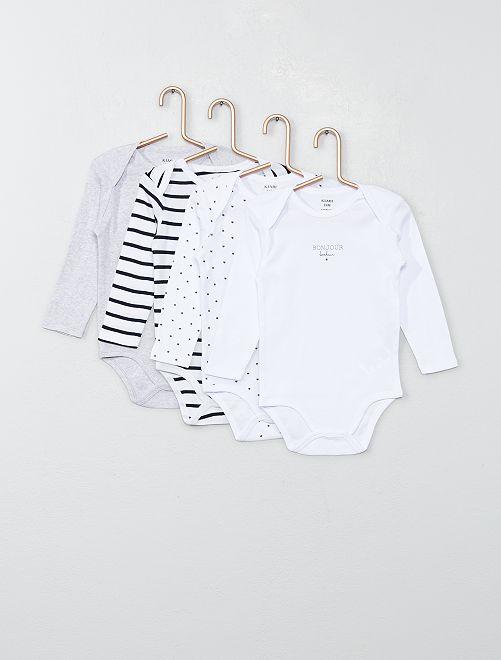 Lot 4 bodies en jersey                                                                 blanc/gris/marine