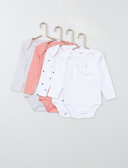 Lot 4 bodies en jersey                             rose/gris/blanc