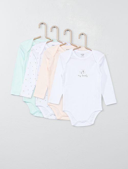 Lot 4 bodies en jersey                                                                 rose/vert/blanc