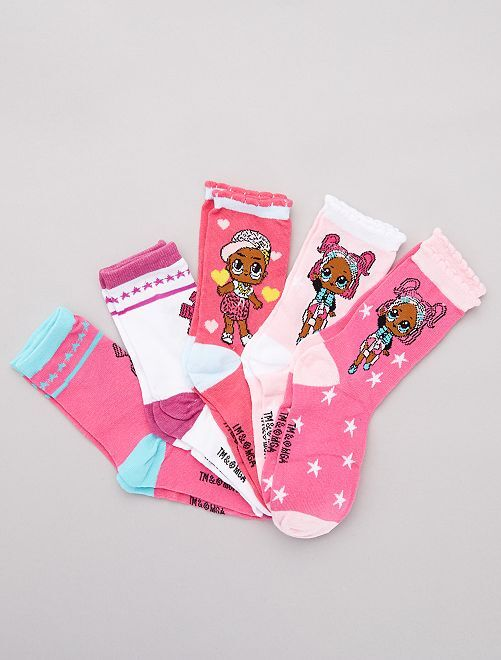 Lot 5 paires chaussettes 'L.O.L. Surprise !'                             rose