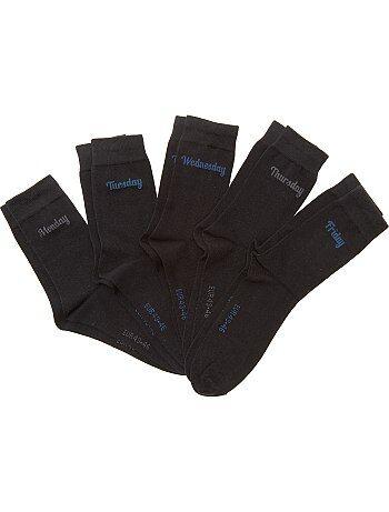 Lot 5 paires de chaussettes 'jour de la semaine' - Kiabi
