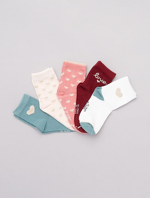 Lot 5 paires de chaussettes                             rose