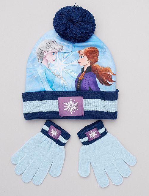 Lot bonnet + gants 'Reine des neiges' de 'Disney'                             bleu/marine