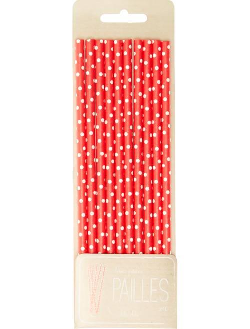 Lot de 10 pailles imprimé fantaisie                                                                                                     pois rouge Décoration, animation