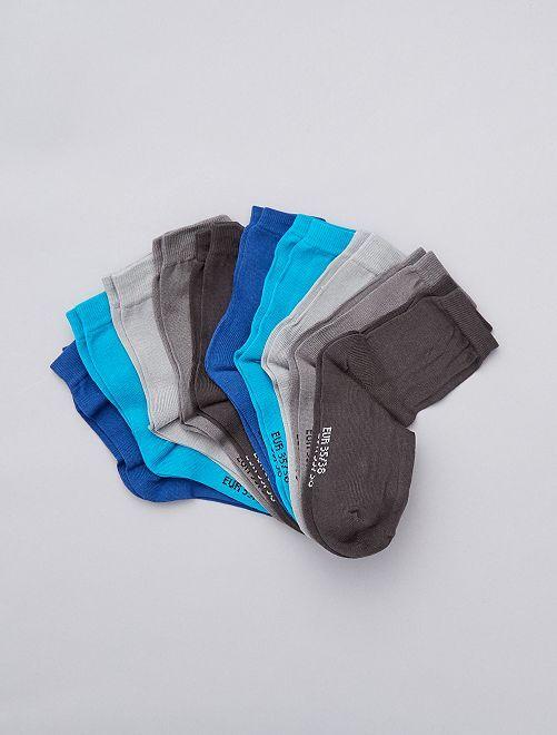 Lot de 10 paires de chaussettes                             gris/bleu