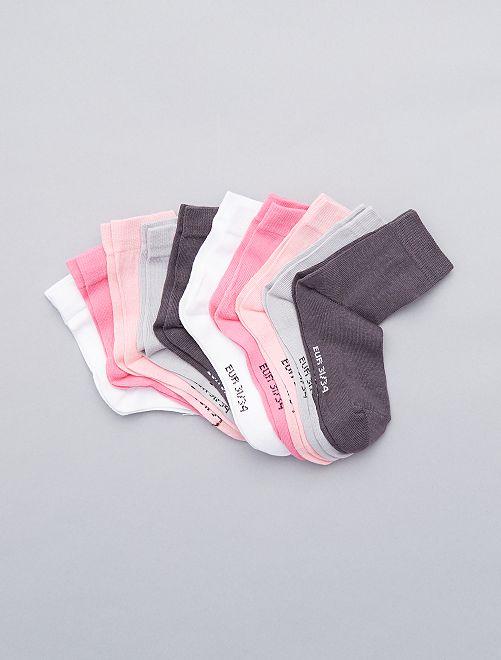 Lot de 10 paires de chaussettes unies                             rose/gris/blanc