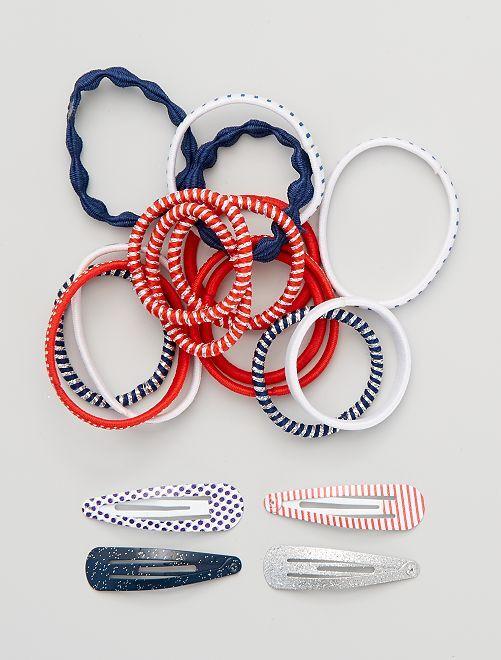 Lot de 14 élastiques + 4 barrettes                             bleu/blanc/rouge