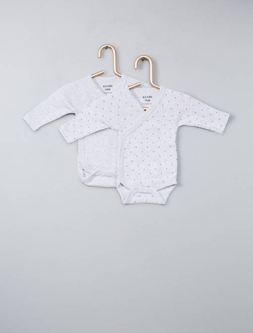 Lot de 2 bodies coton bio 'éco-conception'                                                                             gris
