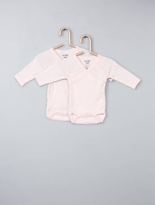 Lot de 2 bodies coton bio 'éco-conception'                                                                 rose