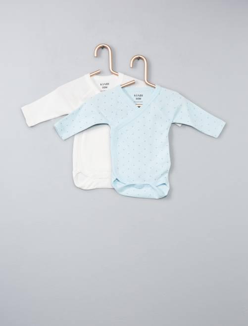 Lot de 2 bodies coton bio ouverture croisée                                                                                                     bleu Bébé garçon