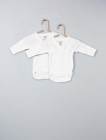 Fille 0-36 mois - Lot de 2 bodies coton bio ouverture croisée - Kiabi