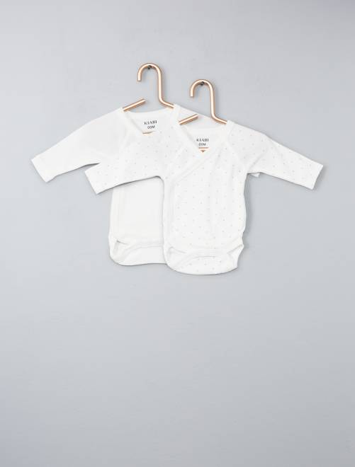 Lot de 2 bodies coton bio ouverture croisée                                                                                                     écru Bébé fille