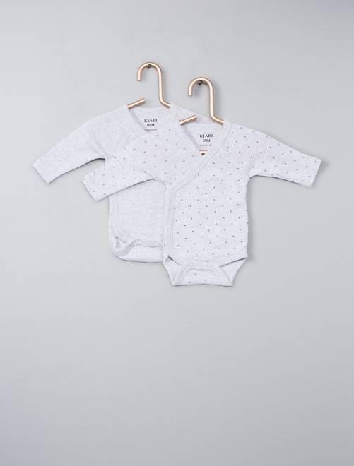 Lot de 2 bodies coton bio ouverture croisée                                                                                                     gris Bébé garçon