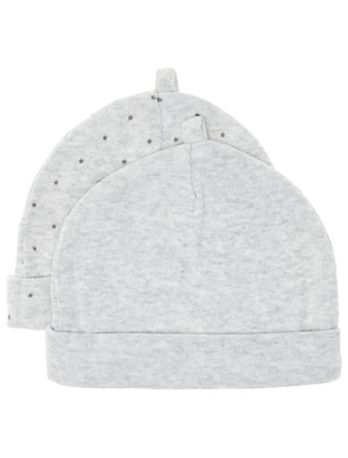 Lot de 2 bonnets coton bio 'éco-conception'                                                                             gris Bébé garçon