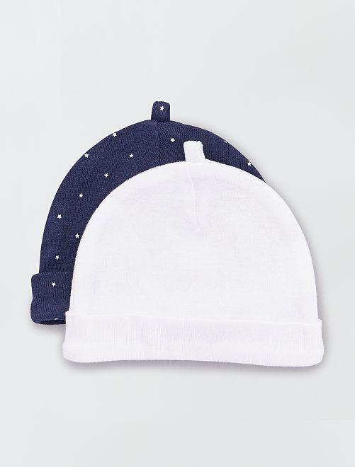 Lot de 2 bonnets éco-conçus                                                                                                                 marine/blanc