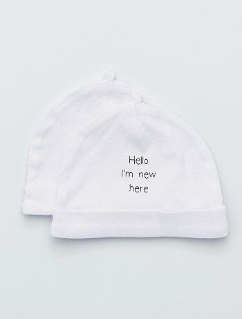 Lot de 2 bonnets en coton bio 2fecaa03801