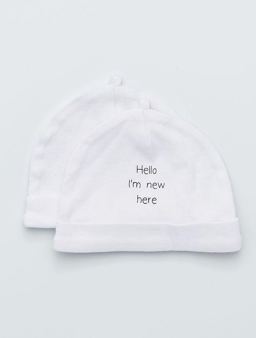 Lot de 2 bonnets en coton bio                                                                             blanc Bébé fille