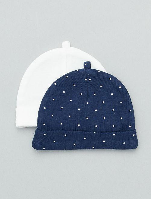 Lot de 2 bonnets en coton bio                                                                             bleu marine/blanc Bébé garçon