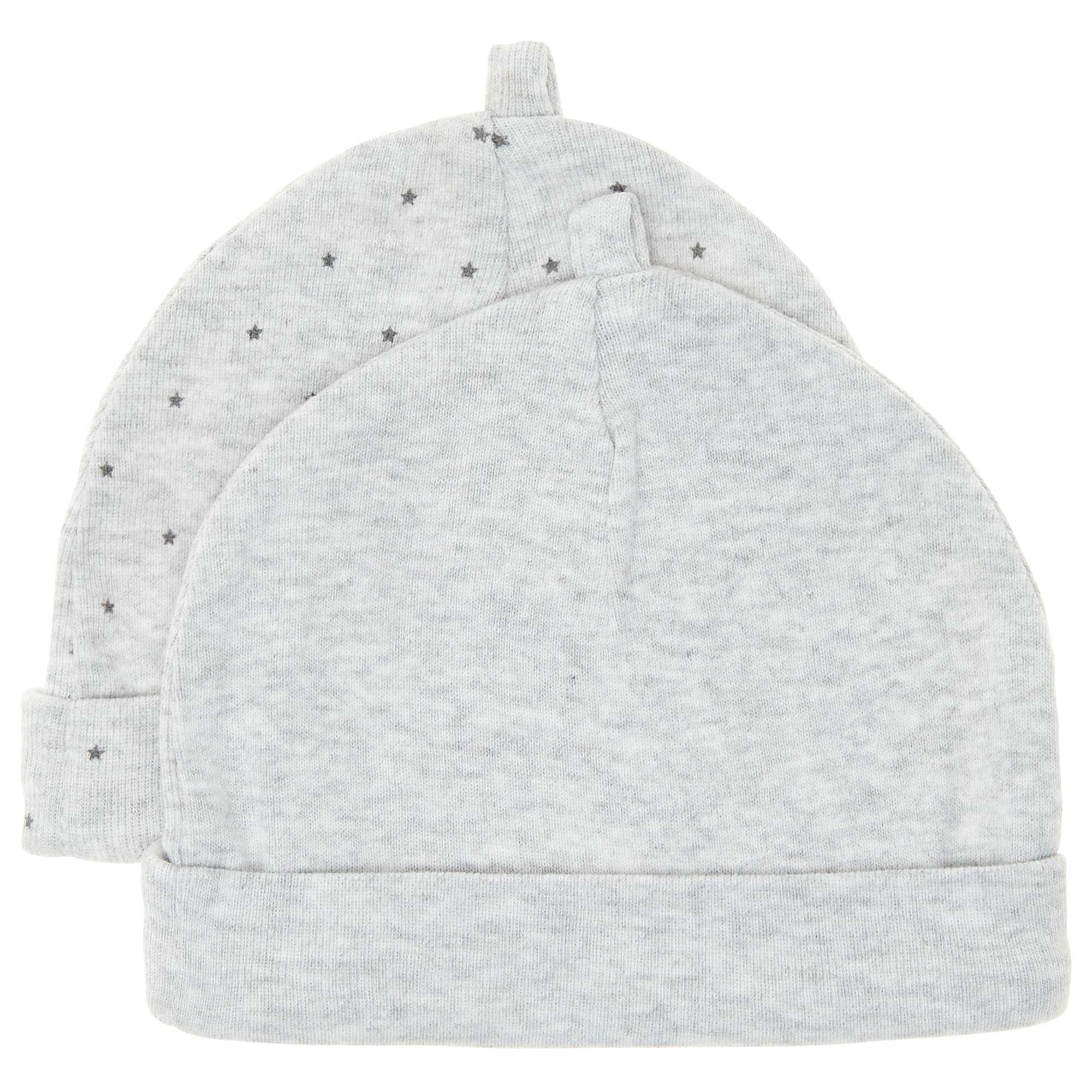 dd793dc40f6 Lot de 2 bonnets en coton bio Bébé garçon - gris - Kiabi - 4
