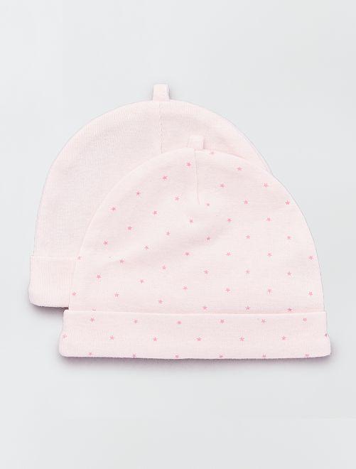 Lot de 2 bonnets en coton bio                                                                             rose Bébé fille