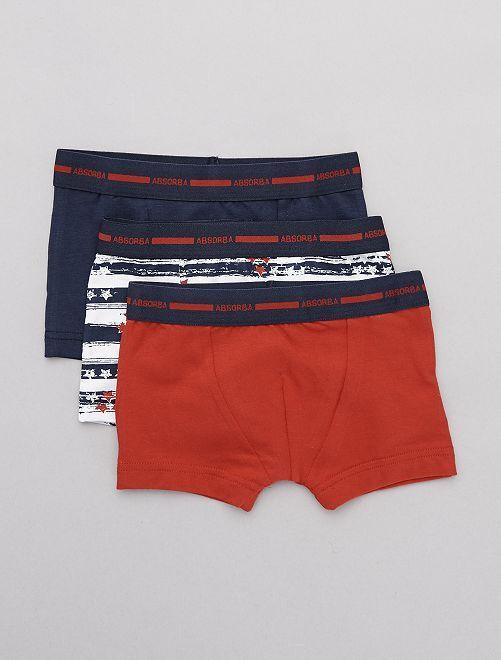 Lot de 2 boxers + 1 gratuit 'Absorba'                             bleu/rouge