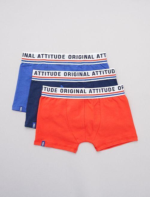 Lot de 2 boxers + 1 gratuit 'Dim'                             mrn/bleu/rge