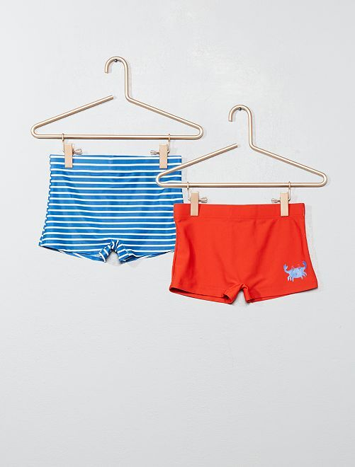 Lot de 2 boxers de bain                                         bleu rayé/rouge Garçon