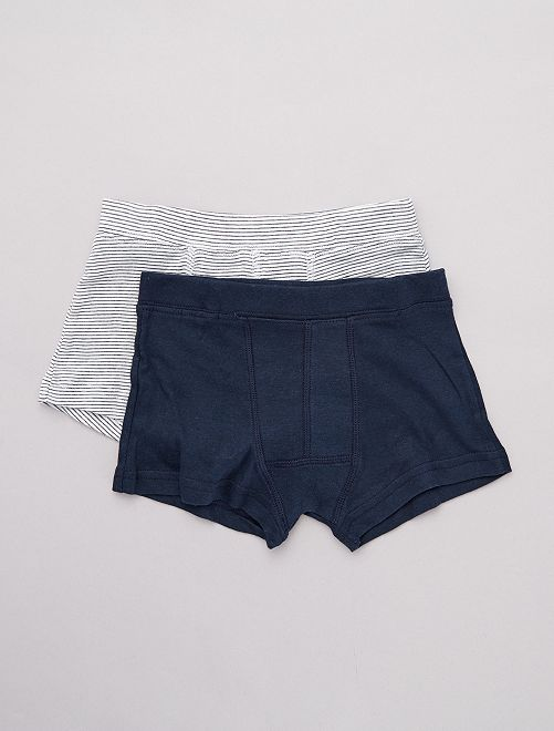 Lot de 2 boxers 'éco-conception'                             marine/blanc