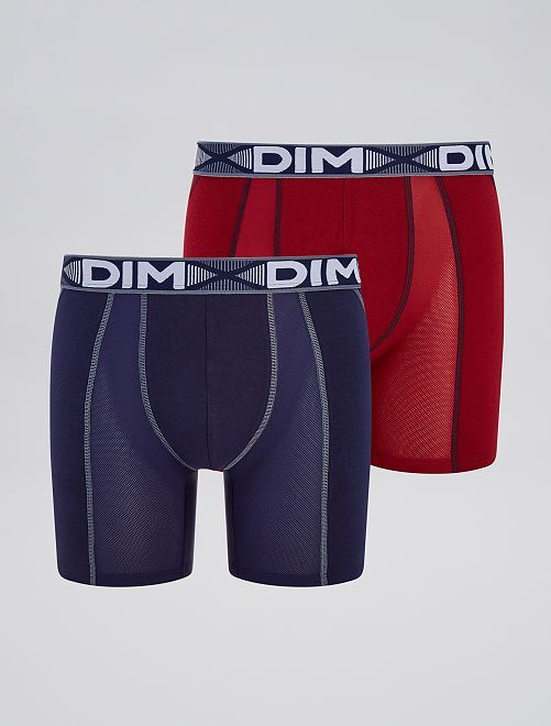 Lot de 2 boxers longs 'DIM 3D Flex Air'                                         rouge/marine Homme