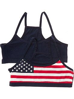 Fille 10-18 ans Lot de 2 brassières imprimé drapeau USA