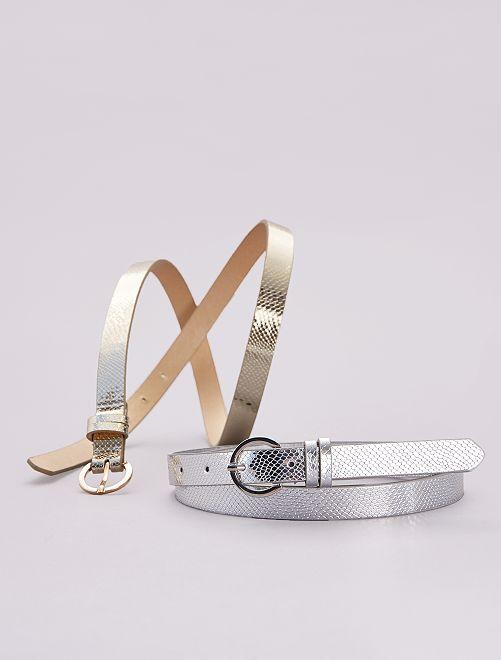 Lot de 2 ceintures effet métallisé                             argent/doré