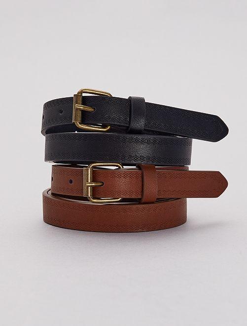 Lot de 2 ceintures fines                             noir/camel