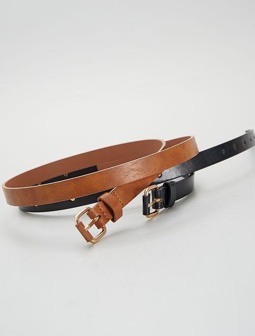 Lot de 2 ceintures                                         noir/camel
