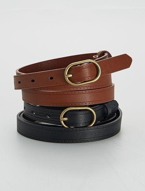 Lot de 2 ceintures                             noir/marron