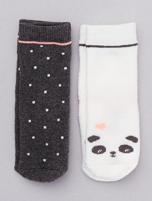 Lot de 2 chaussettes antidérapantes                                         blanc/gris
