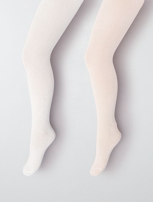 Lot de 2 collants épais                                                                             écru/rose