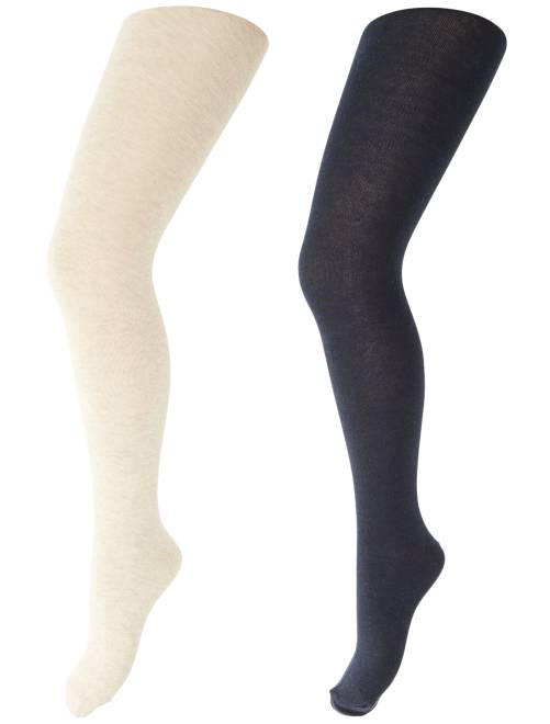 Lot de 2 collants unis                                                                 bleu/beige Fille