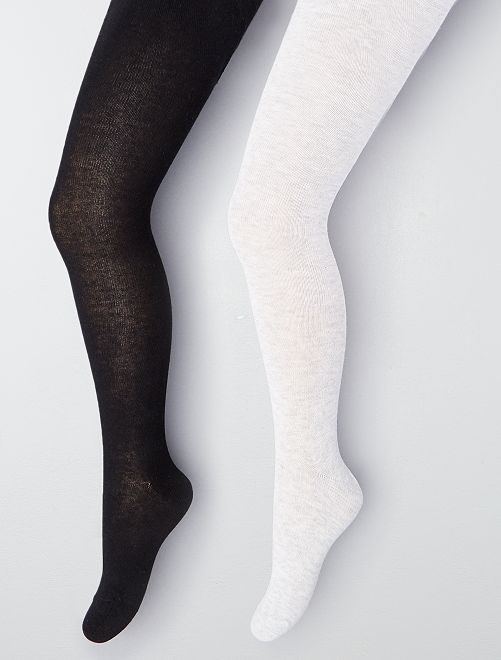 Lot de 2 collants unis                                                                 noir/gris