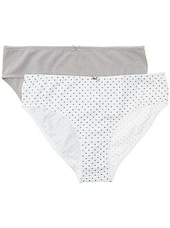 Culotte, shorty, string gris - Lot de 2 culottes en coton