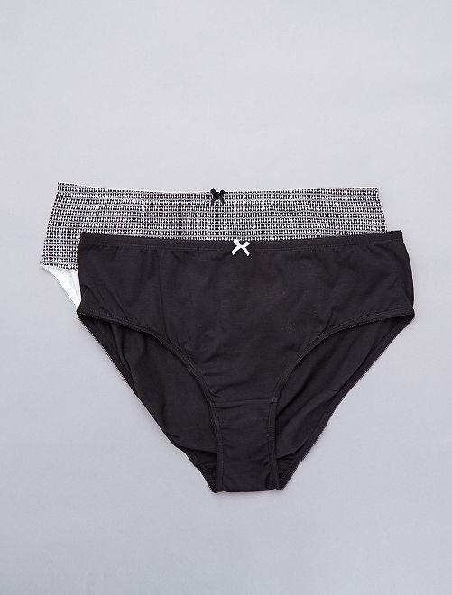Lot de 2 culottes en coton                                                                 noir/noir imprimé blanc Lingerie du s au xxl
