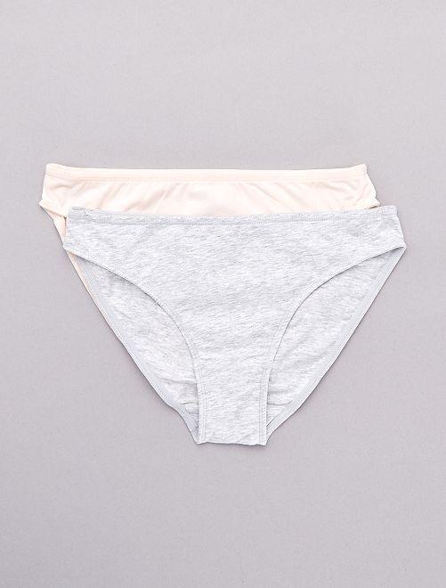 Lot de 2 culottes en coton stretch                                                     gris/rose