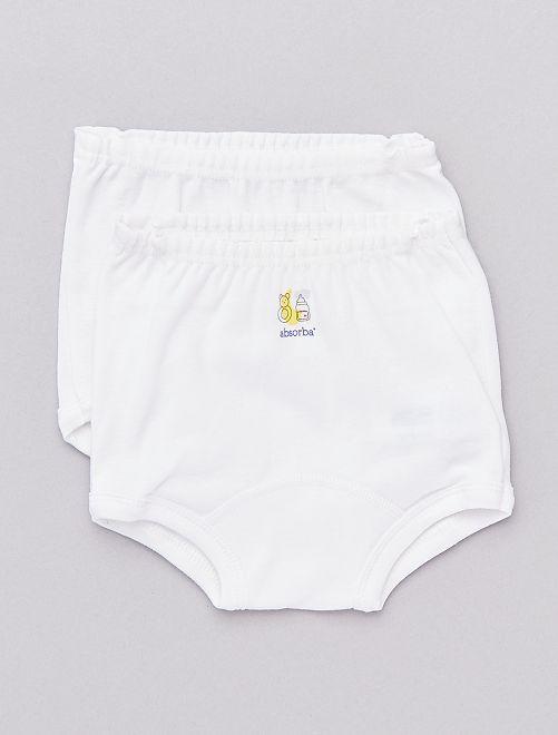 Lot de 2 culottes en pur coton bio 'Absorba'                             blanc