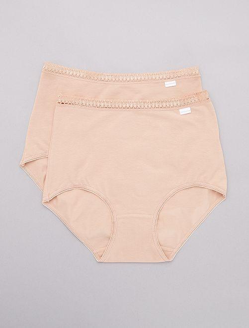 Lot de 2 culottes maxi coton 'Sans Complexe'                                         beige Lingerie du s au xxl