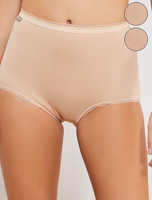 Lot de 2 culottes maxi coton stretch 'Playtex'                             beige