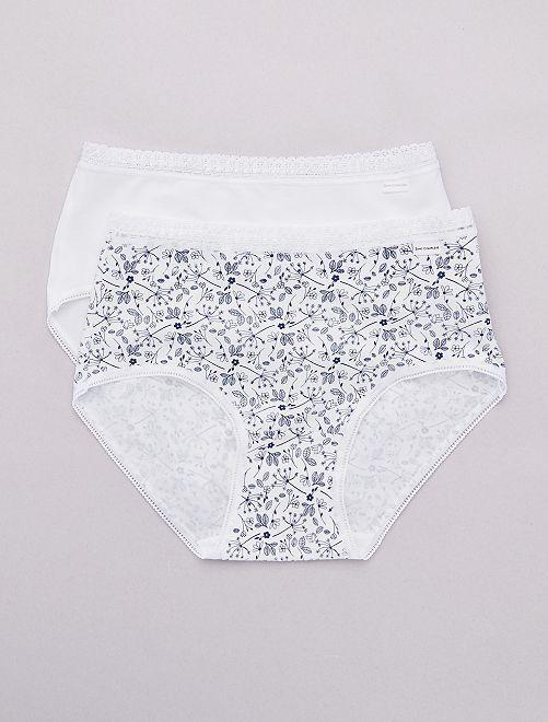 Lot de 2 culottes midi coton 'Sans Complexe'                                                                 blanc Lingerie du s au xxl