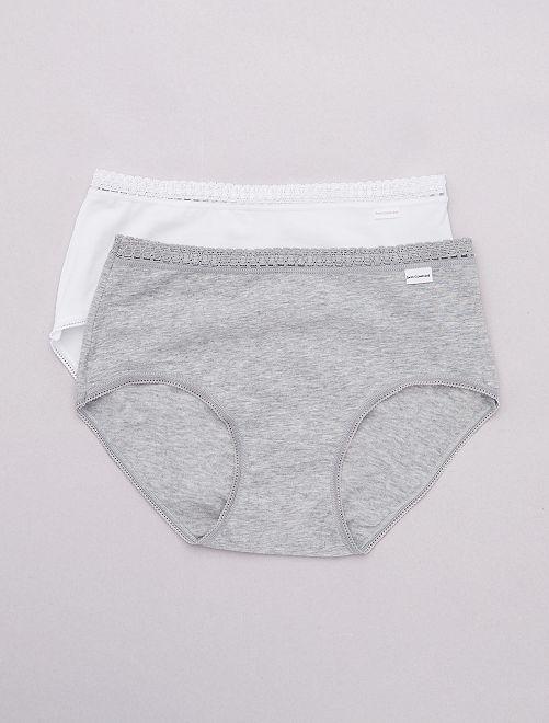 Lot de 2 culottes midi coton 'Sans Complexe'                                                                 blanc/gris