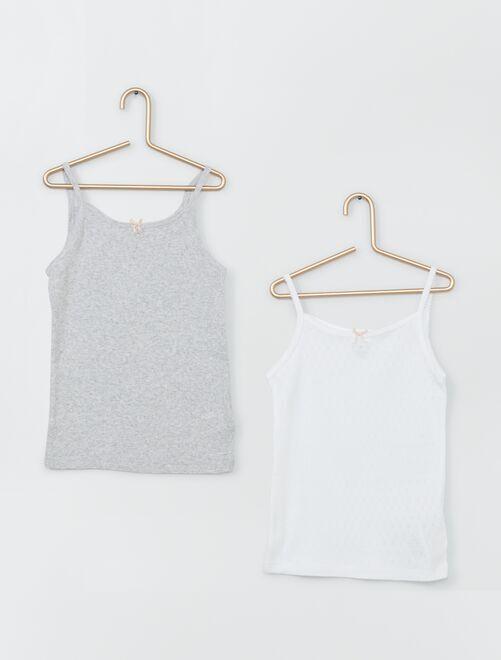 Lot de 2 débardeurs éco-conçu                             gris/blanc