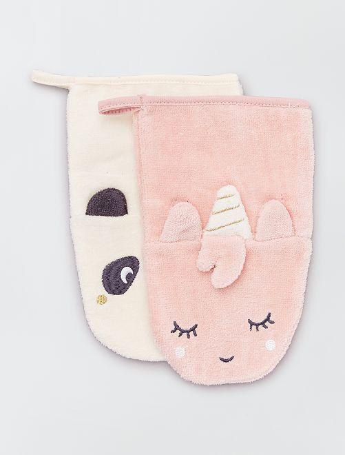Lot de 2 gants de toilette 'animaux'  éco-conçu                                         blanc/rose