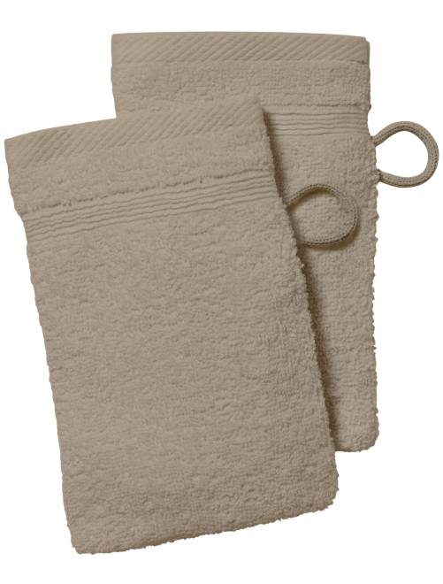Lot de 2 gants de toilette                                                                                             beige